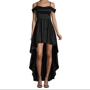 Black high-low prom/homecoming dress, off shoulder